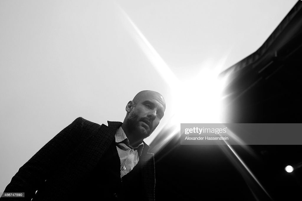 Josep Guardiola, head coach of Muenchen looks on during the Finale of the Paulaner Cup 2014 between FC Bayern Muenchen and Paulaner Traumelf at Alpenbauer Sportpark on October 6, 2014 in Unterhaching, Germany.