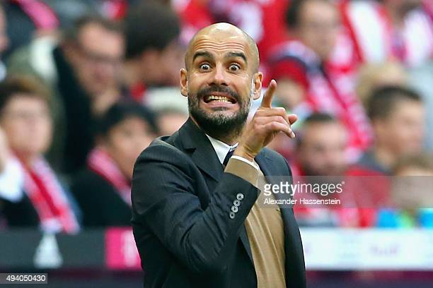 Josep Guardiola head coach of Muenchen reacts during the Bundesliga match between FC Bayern Muenchen and 1 FC Koeln at Allianz Arena on October 24...