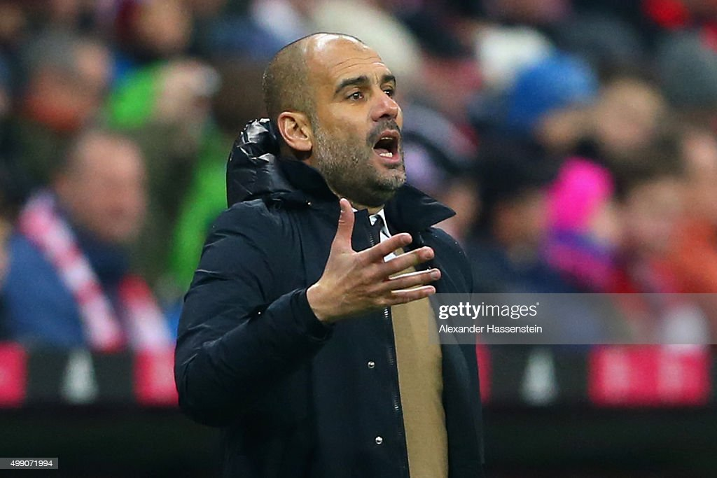 Josep Guardiola, head coach of Muenchen reacts during the Bundesliga match between FC Bayern Muenchen and Herha BSC Berlin at Allianz Arena on November 28, 2015 in Munich, Germany.