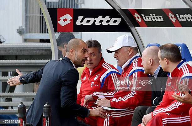 Josep Guardiola head coach of Muenchen talks to Manager Matthias Sammer of Munich and Doctor Volker Braun new club doctor of Muenchen during the...