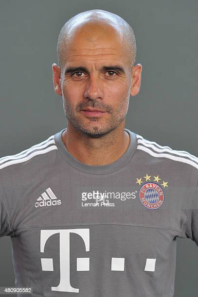 Josep Guardiola head coach poses during the team presentation of FC Bayern Muenchen at Bayern's training ground Saebener Strasse on July 16 2015 in...