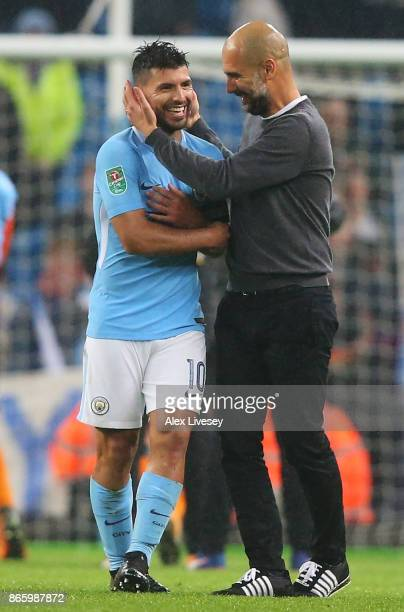Josep Guardiola Manager of Manchester City and Sergio Aguero of Manchester City celebrate after winning the penalty shoot out in the Carabao Cup...