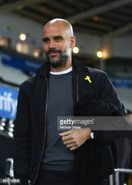 Josep Guardiola Manager of Manchester City arrives at the stadium prior to the Premier League match between Swansea City and Manchester City at...