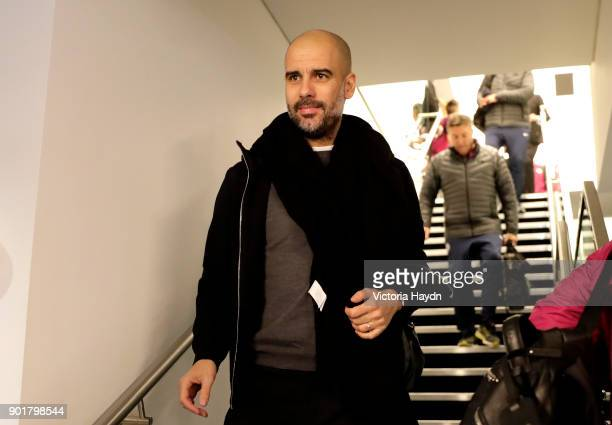 Josep Guardiola Manager of Manchester City arrives at the stadium prior to The Emirates FA Cup Third Round match between Manchester City and Burnley...