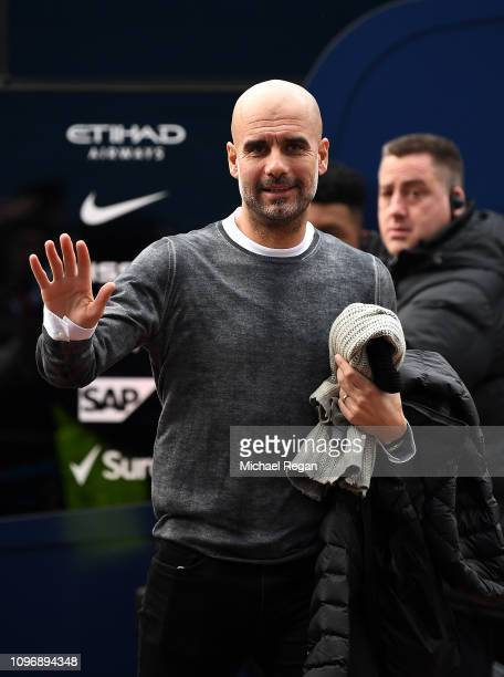 Josep Guardiola Manager of Manchester City arrives during the Premier League match between Huddersfield Town and Manchester City at John Smith's...