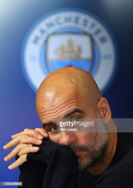 Josep Guardiola Manager of Manchester City attends a Manchester City press conference at Manchester City Football Academy on November 6 2018 in...