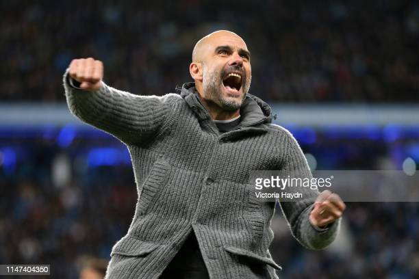 Josep Guardiola Manager of Manchester City celebrates after the Premier League match between Manchester City and Leicester City at Etihad Stadium on...