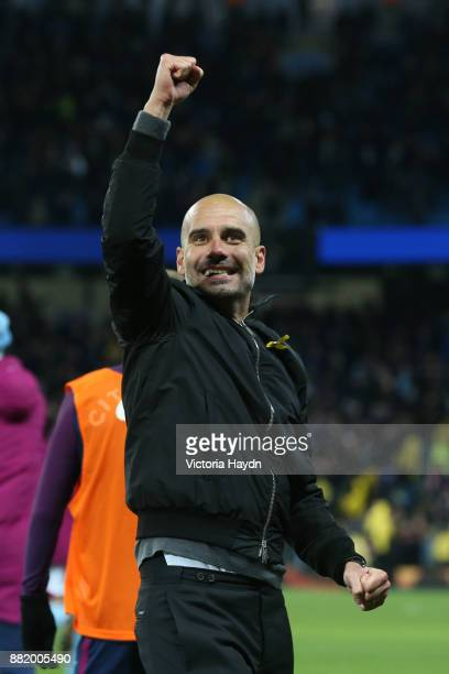 Josep Guardiola Manager of Manchester City celebrates after the Premier League match between Manchester City and Southampton at Etihad Stadium on...
