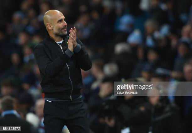 Josep Guardiola Manager of Manchester City celebrates after the Premier League match between Manchester City and West Ham United at Etihad Stadium on...