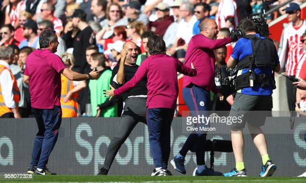 Josep Guardiola, Manager of Manchester City celebrates at the full time whistle during the Premier League match between Southampton and Manchester...