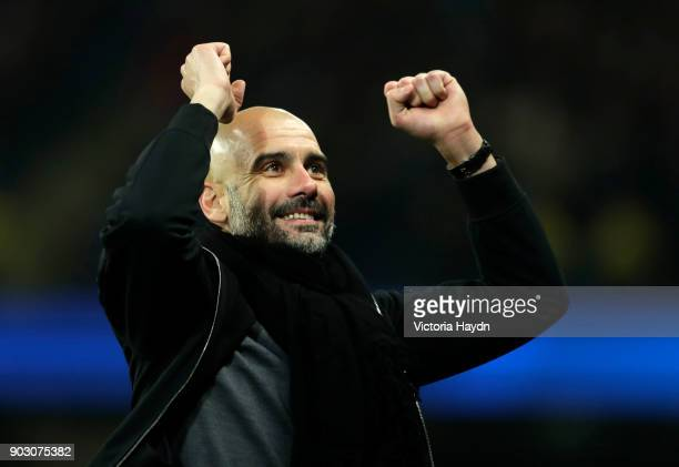 Josep Guardiola Manager of Manchester City celebrates during the Carabao Cup SemiFinal First Leg match between Manchester City and Bristol City at...