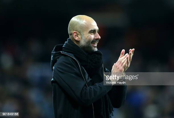 Josep Guardiola Manager of Manchester City celebrates during The Emirates FA Cup Third Round match between Manchester City and Burnley at Etihad...