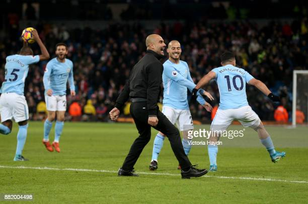 Josep Guardiola Manager of Manchester City celebrates during the Premier League match between Manchester City and Southampton at Etihad Stadium on...
