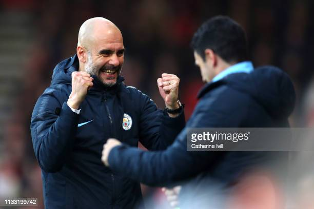 Josep Guardiola Manager of Manchester City celebrates his sides first goal during the Premier League match between AFC Bournemouth and Manchester...