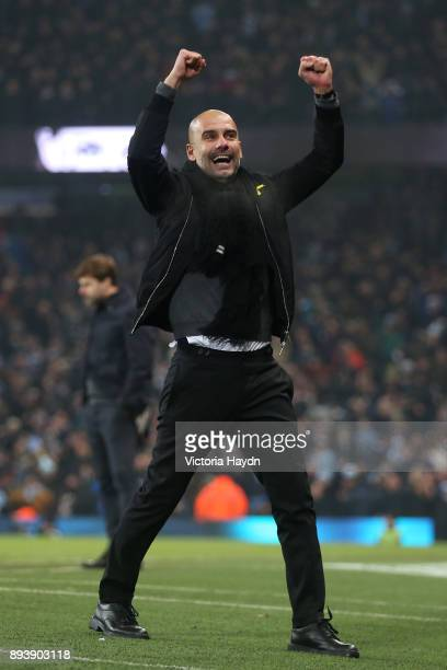 Josep Guardiola Manager of Manchester City celebrates his sides second goal during the Premier League match between Manchester City and Tottenham...