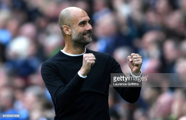 Josep Guardiola Manager of Manchester City celebrates his side's second goal during the Premier League match between Manchester City and Swansea City...