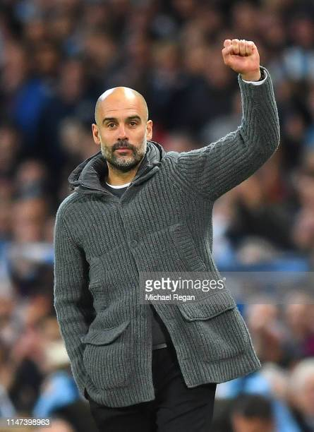 Josep Guardiola Manager of Manchester City celebrates victory after the Premier League match between Manchester City and Leicester City at Etihad...