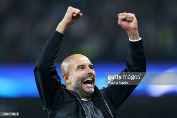 Josep Guardiola Manager of Manchester City celebrates victory after the UEFA Champions League Group F match between Manchester City and Shakhtar...