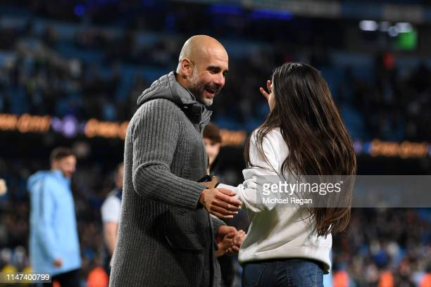 Josep Guardiola Manager of Manchester City celebrates victory with his daughter Maria Guardiola during the Premier League match between Manchester...