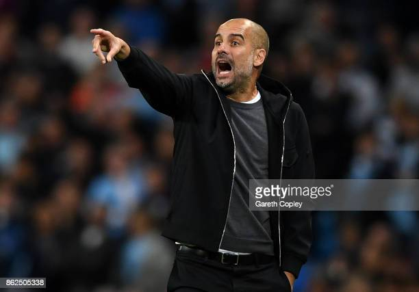 Josep Guardiola Manager of Manchester City gives his team instructions during the UEFA Champions League group F match between Manchester City and SSC...