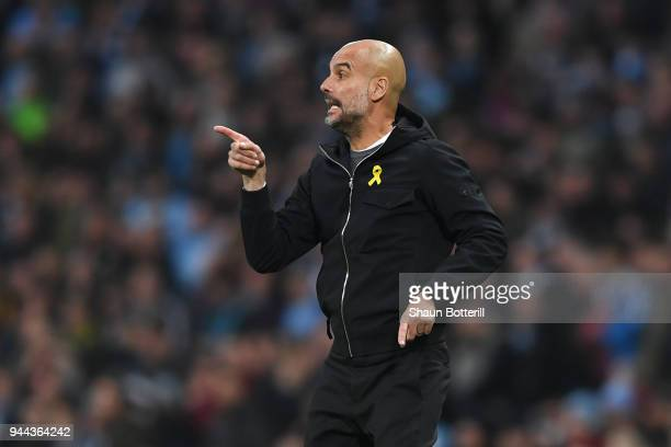 Josep Guardiola Manager of Manchester City gives his team instructions during the UEFA Champions League Quarter Final Second Leg match between...