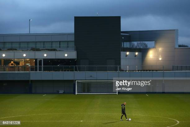 Josep Guardiola Manager of Manchester City looks on during a Manchester City training session and press conference ahead of their UEFA Champions...