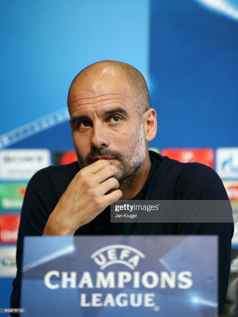 Josep Guardiola, Manager of Manchester City looks on during a Press Conference at Manchester City Football Academy on April 9, 2018 in Manchester, England.
