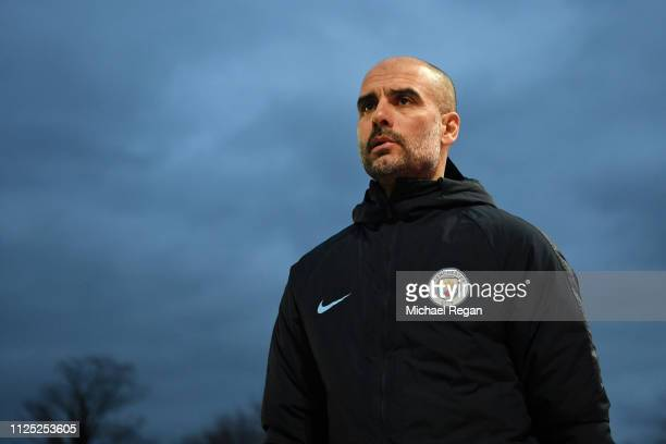 Josep Guardiola Manager of Manchester City looks on during the FA Cup Fifth Round match between Newport County AFC and Manchester City at Rodney...