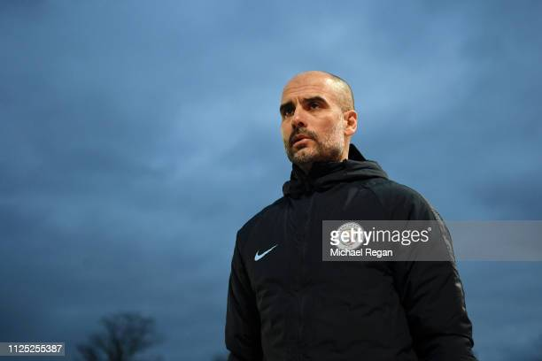 Josep Guardiola Manager of Manchester City looks on prior to the FA Cup Fifth Round match between Newport County AFC and Manchester City at Rodney...