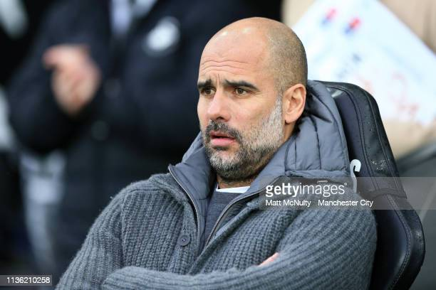 Josep Guardiola Manager of Manchester City looks on prior to the FA Cup Quarter Final match between Swansea City and Manchester City at Liberty...