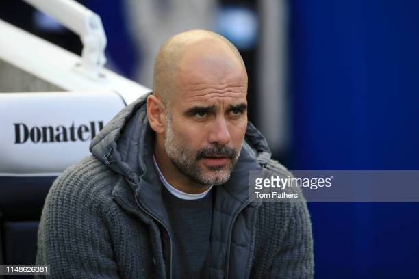 Josep Guardiola Manager of Manchester City looks on prior to the Premier League match between Brighton Hove Albion and Manchester City at American...