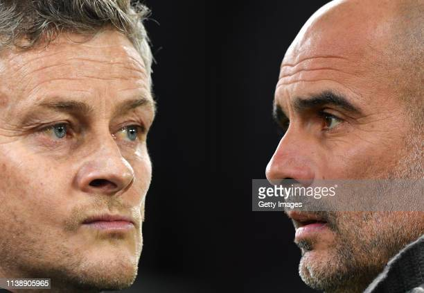 Josep Guardiola, Manager of Manchester City looks on prior to the UEFA Champions League Quarter Final first leg match between Tottenham Hotspur and...