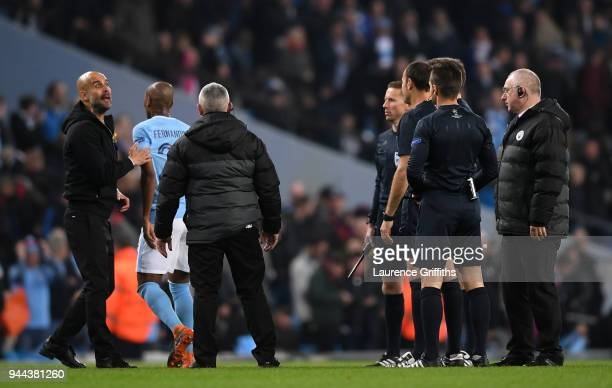 Josep Guardiola Manager of Manchester City reacts at the half time whistle during the UEFA Champions League Quarter Final Second Leg match between...