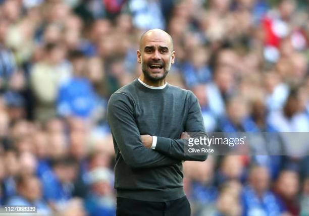 Josep Guardiola Manager of Manchester City reacts during the Carabao Cup Final between Chelsea and Manchester City at Wembley Stadium on February 24...