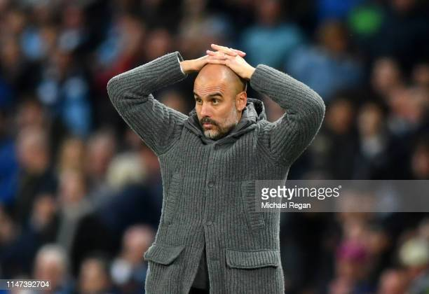 Josep Guardiola Manager of Manchester City reacts during the Premier League match between Manchester City and Leicester City at Etihad Stadium on May...