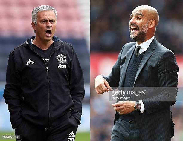 COMPOSITE OF TWO IMAGES Image numbers 576692476 and 485728065 In this composite image a comparision has been made between Manchester United manager...