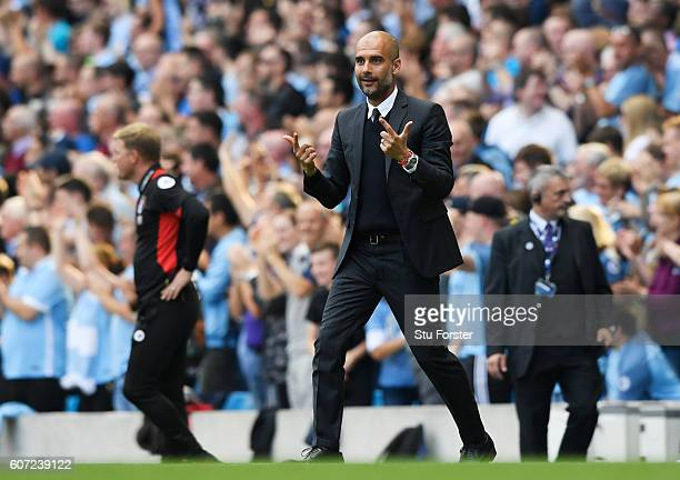 Josep Guardiola Manager of Manchester City reacts during the Premier League match between Manchester City and AFC Bournemouth at the Etihad Stadium...