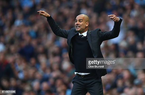 Josep Guardiola Manager of Manchester City reacts during the Premier League match between Manchester City and Everton at Etihad Stadium on October 15...
