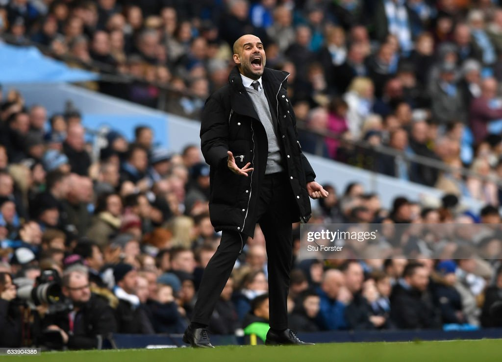 Josep Guardiola, Manager of Manchester City reacts during the Premier League match between Manchester City and Swansea City at Etihad Stadium on February 5, 2017 in Manchester, England.