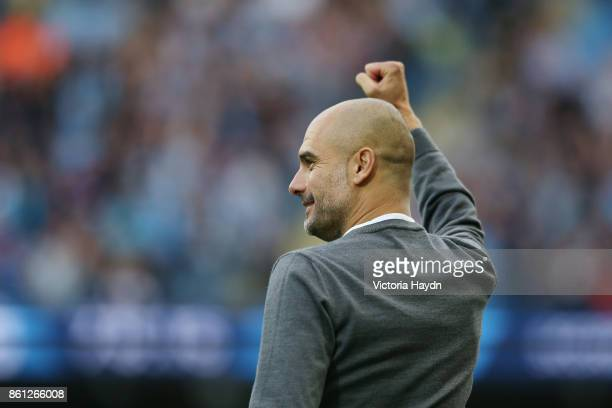 Josep Guardiola Manager of Manchester City reacts during the Premier League match between Manchester City and Stoke City at Etihad Stadium on October...