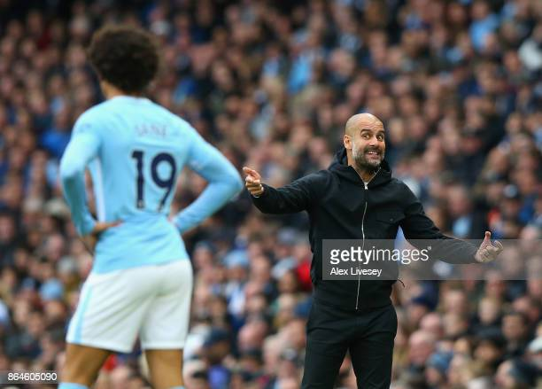 Josep Guardiola Manager of Manchester City reacts during the Premier League match between Manchester City and Burnley at Etihad Stadium on October 21...