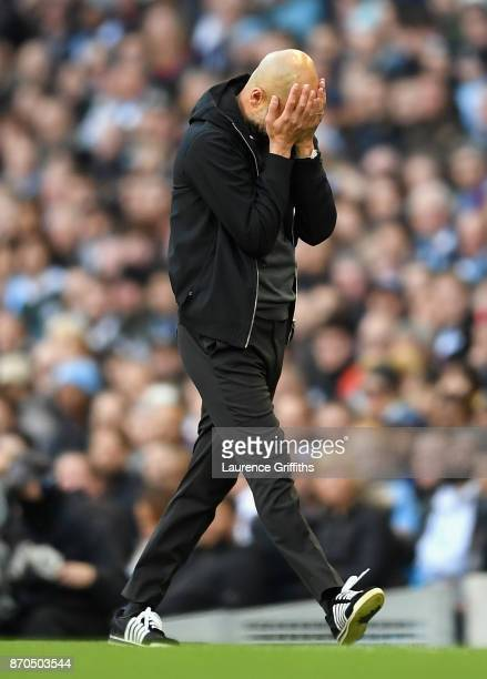 Josep Guardiola Manager of Manchester City reacts during the Premier League match between Manchester City and Arsenal at Etihad Stadium on November 5...
