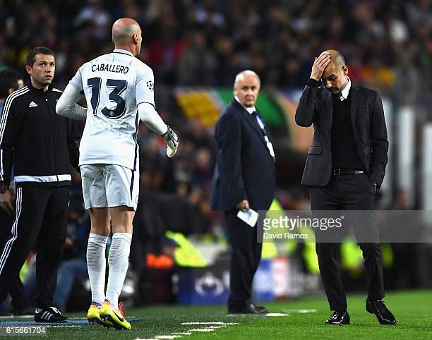 Josep Guardiola Manager of Manchester City reacts during the UEFA Champions League group C match between FC Barcelona and Manchester City FC at Camp...