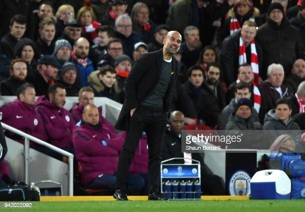 Josep Guardiola Manager of Manchester City reacts during the UEFA Champions League Quarter Final Leg One match between Liverpool and Manchester City...