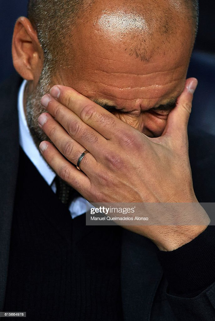 Josep Guardiola, Manager of Manchester City reacts prior to the UEFA Champions League Group C match between FC Barcelona and Manchester City FC at Camp Nou on October 19, 2016 in Barcelona.