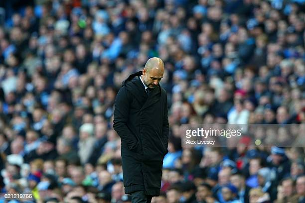 Josep Guardiola Manager of Manchester City reacts to Middlesbrough scoring during the Premier League match between Manchester City and Middlesbrough...