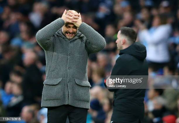 Josep Guardiola Manager of Manchester City reactsduring the Premier League match between Manchester City and Watford FC at Etihad Stadium on March 09...