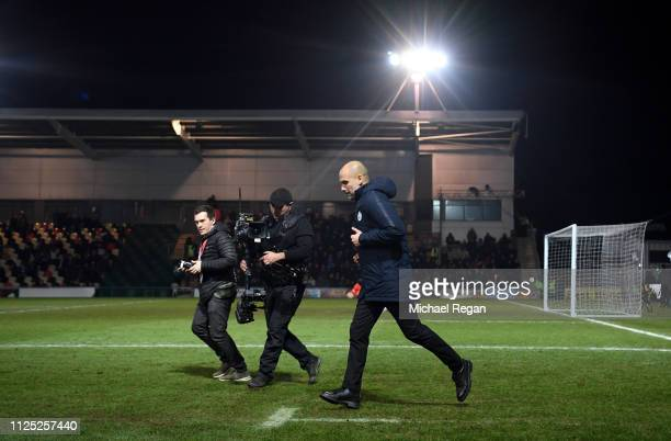 Josep Guardiola Manager of Manchester City walks out for the second half during the FA Cup Fifth Round match between Newport County AFC and...