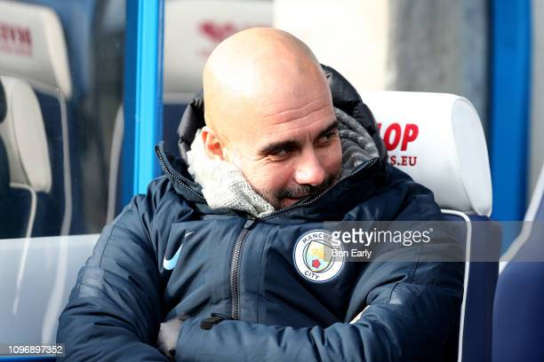 Josep Guardiola of Manchester City before the Premier League match between Huddersfield Town and Manchester City at John Smith's Stadium on January...