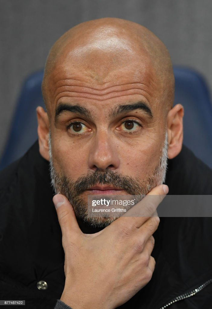Josep Guardiola of Manchester City looks on prior to the UEFA Champions League group F match between Manchester City and Feyenoord at Etihad Stadium on November 21, 2017 in Manchester, United Kingdom.